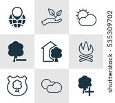 set of 9 ecology icons.... | Shutterstock .eps vector #535309702