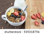morning granola with yogurt... | Shutterstock . vector #535318756