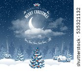 magic merry christmas night for ... | Shutterstock .eps vector #535321132