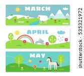 spring months calendar... | Shutterstock .eps vector #535321972