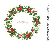 christmas postcard with  wreath ... | Shutterstock .eps vector #535323412