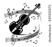 staff and notes with violin.... | Shutterstock .eps vector #535333372