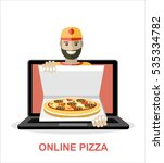 concept of the fast pizza... | Shutterstock .eps vector #535334782