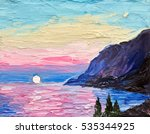 Oil Painting  Pink Sunset  Sea...