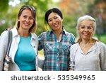 three mature ladies enjoying on ...   Shutterstock . vector #535349965