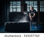 young man with a hammer strike... | Shutterstock . vector #535357765