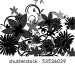 flower's shilouettes with... | Shutterstock .eps vector #53536039