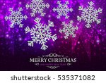 christmas banner with glowing... | Shutterstock .eps vector #535371082