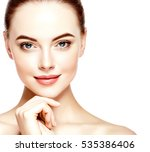 beautiful woman face closeup... | Shutterstock . vector #535386406