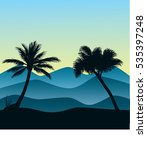 palm and hills illustration | Shutterstock .eps vector #535397248