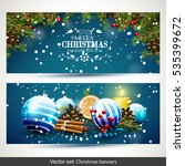 vector set of two christmas... | Shutterstock .eps vector #535399672