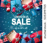 christmas sale poster with red... | Shutterstock .eps vector #535399705