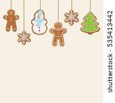 hanging gingerbread man  tree ... | Shutterstock .eps vector #535413442