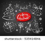 christmas chalked line art... | Shutterstock .eps vector #535414846