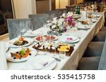 dishes with delicious food... | Shutterstock . vector #535415758
