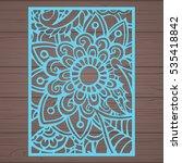 die cut card. laser cut vector... | Shutterstock .eps vector #535418842