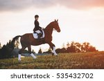 young woman riding brown horse... | Shutterstock . vector #535432702