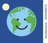 earth globe happy. isolated on... | Shutterstock . vector #535450072