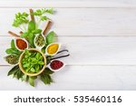 fresh and colorful herbs and... | Shutterstock . vector #535460116