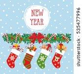 christmas socks vector... | Shutterstock .eps vector #535477996