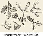 vector set with christmas... | Shutterstock .eps vector #535494235