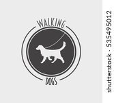 Stock photo walking dog badge label logo or symbol design concept with golden retriever dog silhouette 535495012