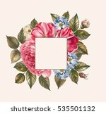 illustration of red rose frame... | Shutterstock . vector #535501132