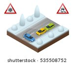 winter driving and road safety. ... | Shutterstock .eps vector #535508752