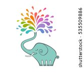 cartoon elephant with color... | Shutterstock . vector #535509886
