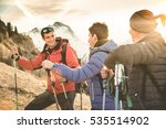 friends group trekking on... | Shutterstock . vector #535514902