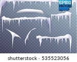 set of snow icicles isolated on ... | Shutterstock .eps vector #535523056