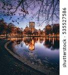 Stock photo skyline of boston massachusetts from the boston public gardens 535527586