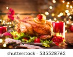 christmas dinner. roasted... | Shutterstock . vector #535528762