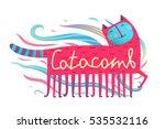 cat and comb humorous design.... | Shutterstock .eps vector #535532116