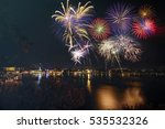 brightly colorful fireworks  | Shutterstock . vector #535532326