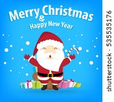 santa claus and snow theme ... | Shutterstock . vector #535535176