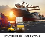 truck transport container on... | Shutterstock . vector #535539976
