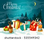 christmas gift box with xmas... | Shutterstock . vector #535549342