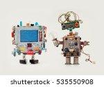 robots in love. funny man... | Shutterstock . vector #535550908