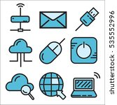 technology icon set  line... | Shutterstock .eps vector #535552996