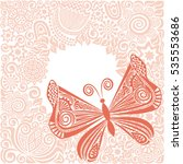 beautiful butterfly and floral... | Shutterstock .eps vector #535553686
