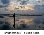 silhoutte of a man with bagpack ... | Shutterstock . vector #535554586
