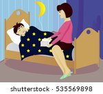 mother reads book to child and... | Shutterstock .eps vector #535569898