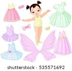 paper baby girl doll with... | Shutterstock .eps vector #535571692