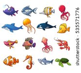 cartoon collection of fish and... | Shutterstock .eps vector #535571776