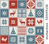 christmas pattern in patchwork... | Shutterstock .eps vector #535595158