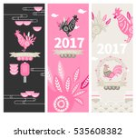 vector rooster paper cut... | Shutterstock .eps vector #535608382