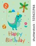 cute dinosaur happy 2nd... | Shutterstock .eps vector #535621966
