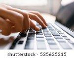 hands using laptop type on... | Shutterstock . vector #535625215