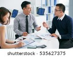 coworkers discussing financial... | Shutterstock . vector #535627375